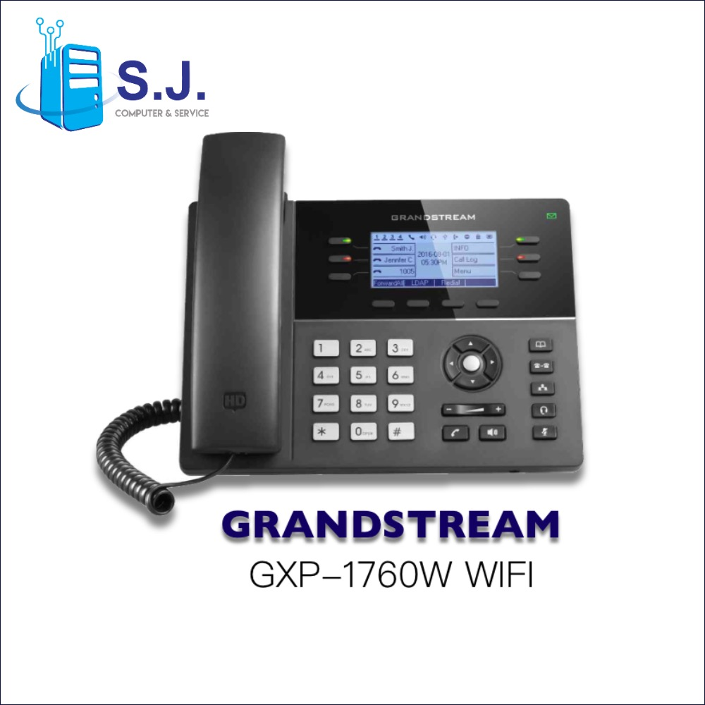 โทรศัพท์สํานักงาน IP PHONE GRANDSTREAM GXP1760 W 6-line Powerful Mid-range HD IP Phone