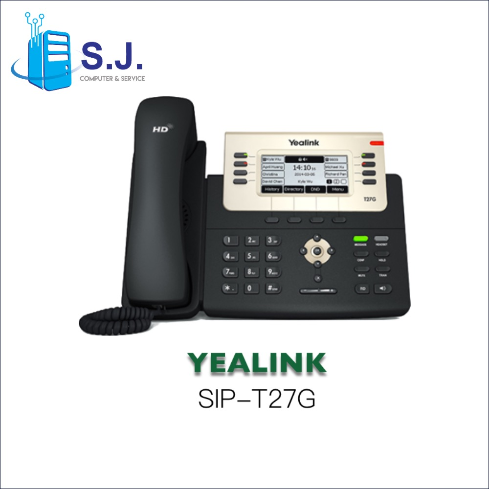 "โทรศัพท์สํานักงาน Yealink SIP-T27G Yealink Executive IP-Phone, 6SIP, 3.6"" 240x120, PoE"